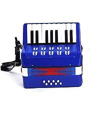 Vobajf Dzieci akordeon dziecięcy akordeon muzyczna zabawka dla dzieci powyżej 6 lat początkujących przyjazna dla środowiska kolekcja muzyczna 17 klawiszy łatwa do nauki i zabawy (kolor: Niebieski, rozmiar: 22,5 x 10 x 23,5 cm)
