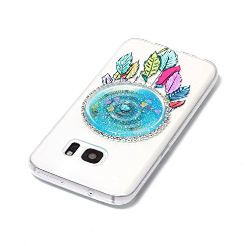 LuckyW Silicone Case for Samsung Galaxy S7 Edge Phone Case Dreamcatcher Sandblasting Fluid [Scratch-resistant, dust-proof, shockproof, anti-fingerprint]-Rosa Azul claro