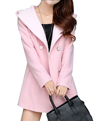 Coolred Women Hooded Cashmere Autumn Winter pea-coats Double Breasted Coat Pink L