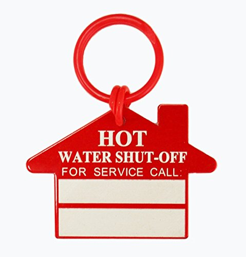Hot Water Shut Off Plumber Tags (Pack of 10) - With Blank Boxes for Company Name by National Band & Tag Company