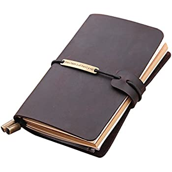 """Refillable Handmade Traveler's Notebook, Leather Travel Journal Notebook for Men & Women, Perfect for Writing, Gifts, Travelers, 5.2"""" x 4"""" Inches - Coffee"""