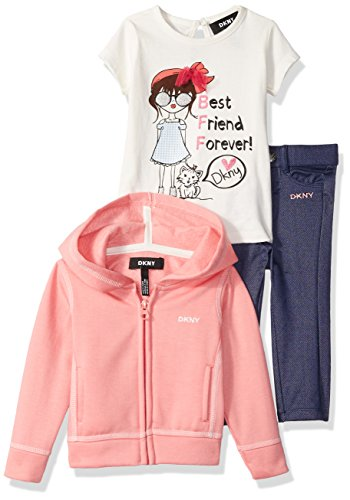DKNY Baby Girls 3 Piece Best Friends T-Shirt, Hoodie, and Pant Set, Sunkist Coral, 24M -