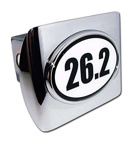 26.2 (B&W Oval) ALL METAL Shiny Chrome Hitch Cover