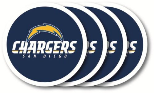 San Diego Chargers NFL Vinyl Coaster Set Brand New