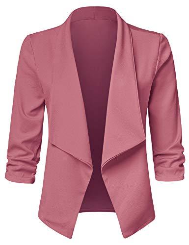 JSCEND Women's Casual Stretch 3/4 Sleeve Open Front Blazer Cardigan Jacket A-Mauve S