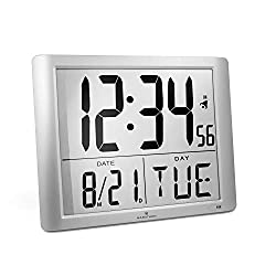 Marathon CL030061GG Super-Jumbo Commercial Grade Digital Atomic Wall Clock with 7-Inch Digits - Batteries Included
