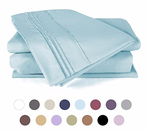 Duck Baby Bedding (Bed Sheet Set - HOTEL LUXURY 1800 Series Quality Bedding Set with Deep Pockets, Wrinkle & Fade Resistant, Hypoallergenic Sheet & Pillow Case Set (Twin -Baby Blue) by DUCK & GOOSE CO.)