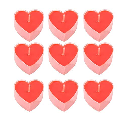 9 Pcs Red Heart Shape Dinner Candle, Heart
