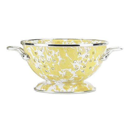 Enamelware Butter Yellow Swirl Petite Colander -