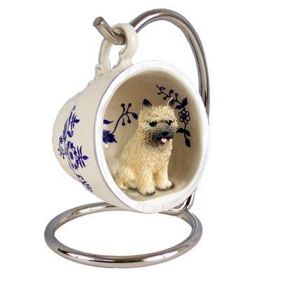 (Conversation Concepts Cairn Terrier Red Tea Cup Blue Ornament)