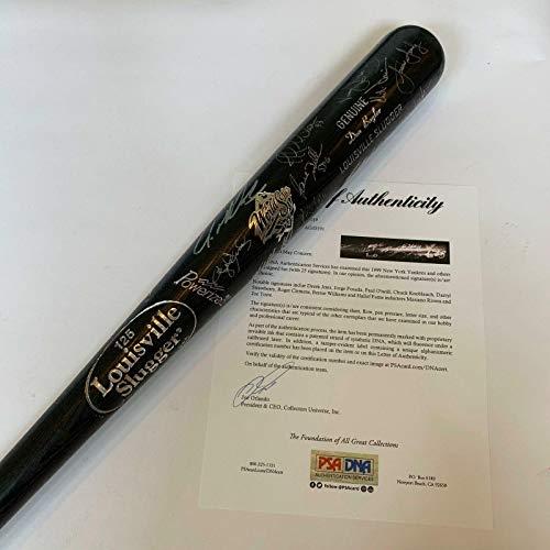 1999 Yankees World Series Champs Team Signed Bat Derek Jeter Mariano Rivera - PSA/DNA Certified - Autographed MLB Bats