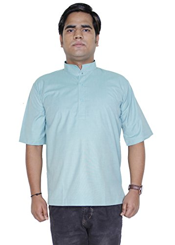 Shirt en coton mens court kurta - vêtements indiens robe de yoga de la mode