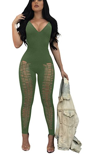 Ophestin Womens Fishnet High Elasticity Long Holes Cutout Jumpsuits Rompers Clubwear Green S -