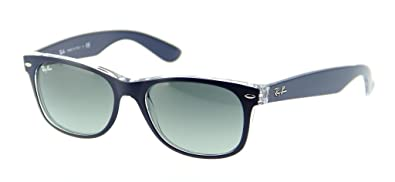 7feccf672360 Image Unavailable. Image not available for. Color  Ray Ban RB2132 605371 55 Blue  Transparent New Wayfarer Sunglasses ...
