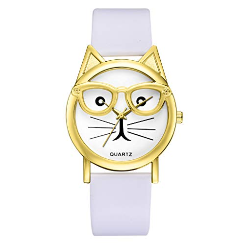 Sodoop Watches for Women, Fashion Luxury Quartz Watch, Simple Cute Sweet Cat Dial Casual Thin Leather Belt Bracelet Set Woman's Watch