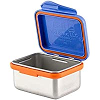 Kid Basix Safe Snacker Stainless Steel Lunchbox Container with Attached Lid, Blue, Small