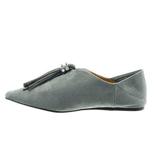 Angkorly Women's Fashion Shoes Mocassins - Slip-On - Fringe - Studded Flat Heel 1 CM Grey nowTgN