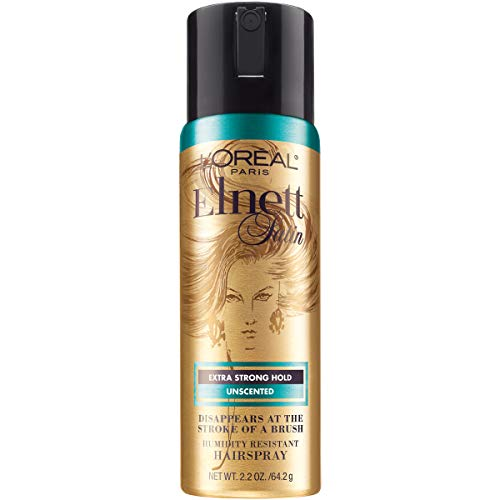 L'Oreal Paris Elnett Hair Care Elnett Satin Extra Strong Hold Hairspray – Unscented, Long Lasting + Humidity Resistant, Hair Styling Spray, 2oz