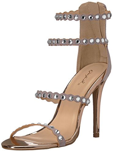 Strass Grey Simple à avec Sandale Suede Femme Semelle Qupid Light Polyurethane U8waq