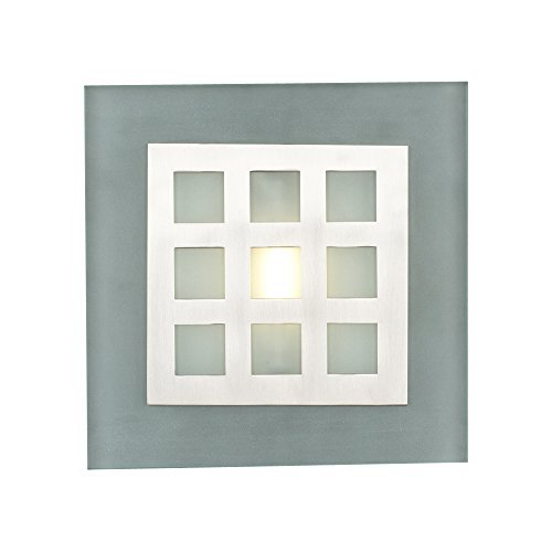 (PLC Lighting 2316 SN 1-Light Wall Sconce Bali Collection, Satin Nickel Finish and Acid Frosted Glass)