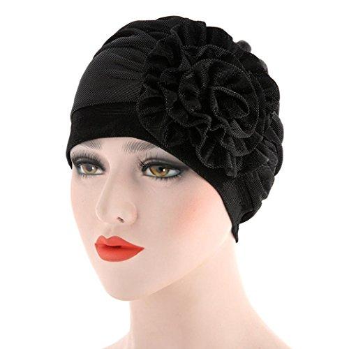 YJYdada Women India Hat Muslim Ruffle Cancer Hat Pearl Beanie Scarf Turban Head Wrap Cap (BLack)