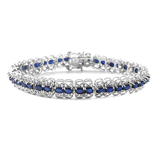 925 Sterling Silver Platinum Plated Oval Diffused Blue Sapphire Tennis Bracelet for Women 7.25