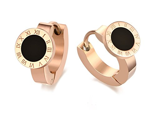 Stainless Steel Roman Numeral Shell/Enamel Inlay Small Huggie Hoop Earrings for Women,Black (Roman Outfits For Womens)