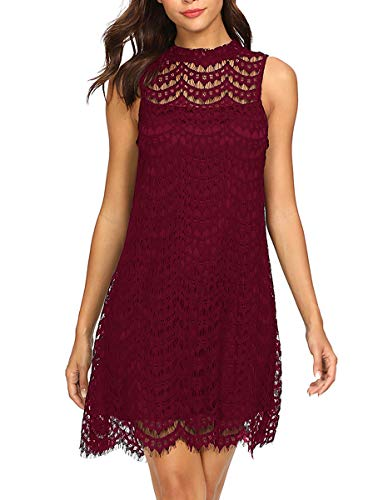 Romwe Women's Lace Sleeveless A Line Elegant Cocktail Evening Party Dress Burgundy S ()