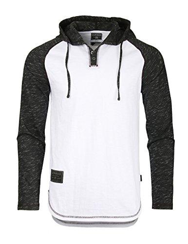 ZIMEGO Mens Contrast Long Sleeve Round Bottom Raglan Hoodie Henley T-Shirts, Small, White Black ()