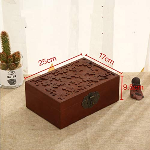 化粧品収納ボックス レトロ大容量化粧品ジュエリー収納ボックス樟子松無垢材素材上質ベージュブラウン DSJSP (Color : Brown)