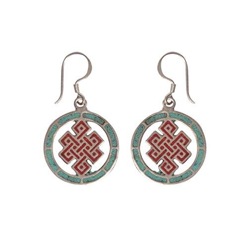 Lapis Coral Eternal Infinity Knot Mandala yoga buddhist (Eternal Knot Earrings)