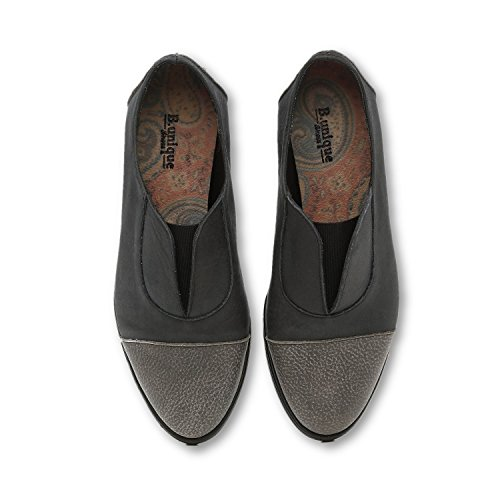 B-Unique Brown Heeled Loafers for Women Slip on Round Toe Leather Women's Shoes Slip-on Loafers Black