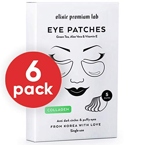 Collagen Eye Patches - Moisturizing Under Eye Pads - Anti Puffines & Dark Circles Spa Treatment - Best Hydrogel Eye Moisturizer for Women & Men - Gel Patch for Dry Skin Under Eye Zone (6 Pack) by Elixir Premium Lab (Image #9)