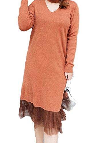 Coolred-femmes Licol Coutures Maille Col En V Plissé Robe Pull En Tricot Solide 1