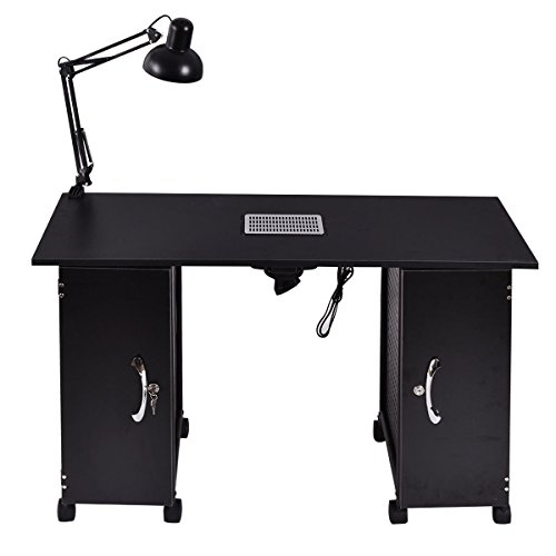 Manicure Nail Table Station Black Steel Frame Beauty Spa Salon Equipment Drawer by BUY JOY