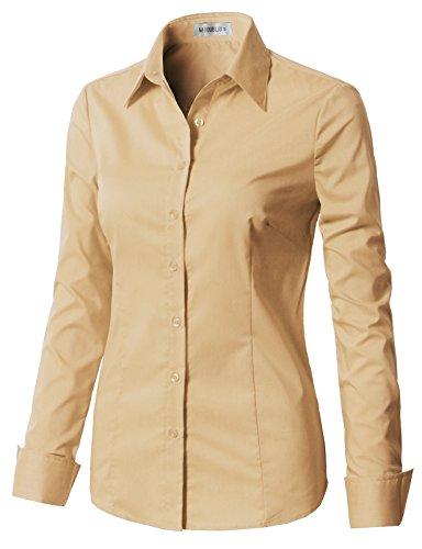 CLOVERY Women's Formal Work Wear Simple Button Down Shirt Beige M