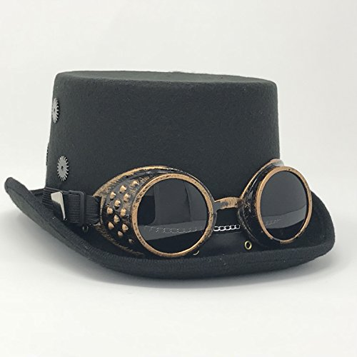Ringmaster Costume Party City (Kopper Tops Kurios Cabinet Steampunk Hats - Black Top Hat with Goggles)