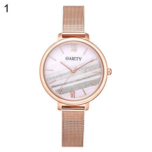 (lightclub Fashion Women Round Dial Gradient Alloy Mesh Strap Analog Quartz Wrist Watch - White Watch for Women Men)