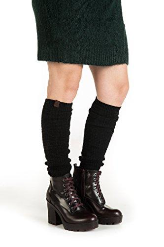 Marino Women long Knit Winter Leg Warmers, Knee High Boot Socks - Black