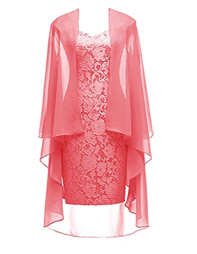 64032dea854 Coral Short Lace Mother Of The Bride Dress With Jacket Formal Gowns Coral  US 16