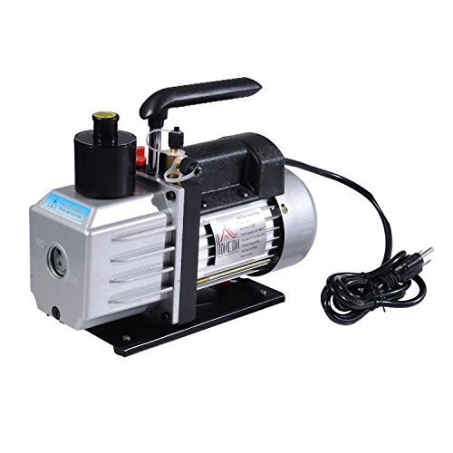 HomCom Single Stage 7 CFM Rotary Vane 1/2 HP HVAC Refrigerant Vacuum Pump ()