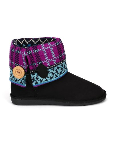 Bootie Suede Button Qupid Toe 02 Cuff Rascal Black Round AqBRwS