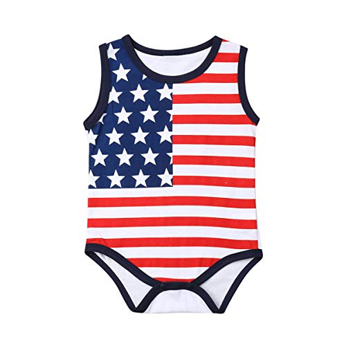 Lzxuan 4th of July Baby Boys Girls Romper Newborn American Flag Flag Jumpsuit One-Piece Bodysuit Outifits (Sleeveless, 12-18M) -