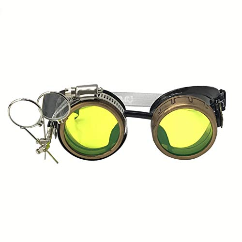(Steampunk Victorian Style Goggles with Compass Design, UV Glow in The Dark Neon Green Rave Diffraction Glasses Spiral)
