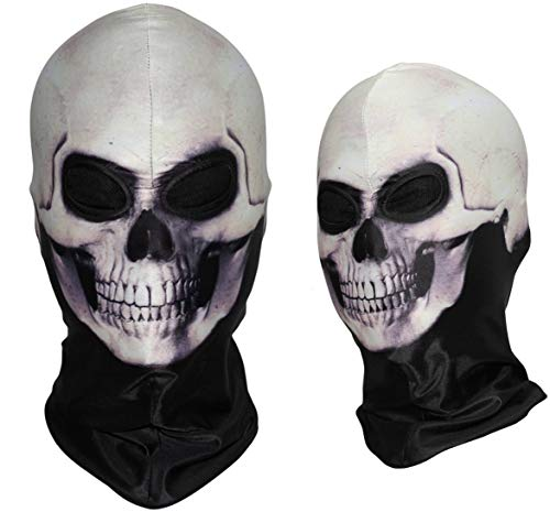 3D Full Head Breathable Skeleton Headscarf Bandana Balaclava Ghost Death Skeleton Scary Skull Pattern Tactical Halloween Costume Airsoft Paintball Hats Face Mask No.242]()