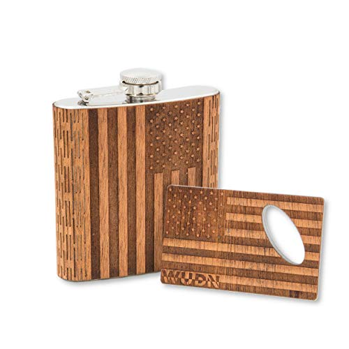 Real Wood 6 oz. Hip Flask AND Matching Credit Card Bottle Opener, American -