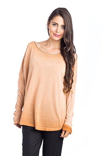 Abbino 15631 Camisas Blusas Tops para Müjer - Hecho en ITALIA - Colores Variados - Verano Otoño Primavera Mujeres Elegantes Formales Manga Larga Casual Vintage Oficina Fiesta Rebajas Cobre (Art. 15631)