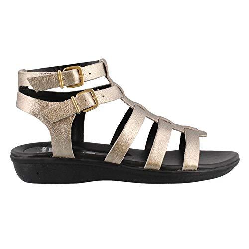 (CLARKS Women's Manilla Parham Gladiator Sandal, Gold/Metallic Leather, 9 B(M) US )
