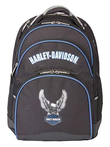 Harley-Davidson Backpack w/Steel Cable Strap & Harley Eagle, Black w/Blue Trim