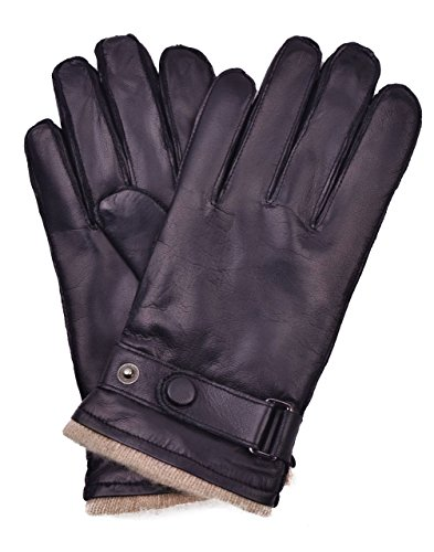 YISEVEN Men's Touchscreen Lambskin Leather Dress Gloves Cashmere Fur Lined Genuine Luxury and Hand Warm Heated Lining for Winter Driving Motorcycle Work Xmas Gifts, Brown ()